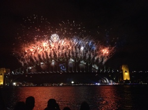 Fireworks on the Sydney Harbour Bridge, New Year's Eve 2013.