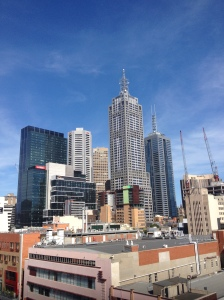 Melbourne CBD from a rooftop bar.