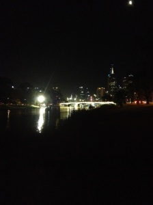 Melbourne Skyline & Swan Street Bridge By Night