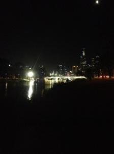 Melbourne Skyline & Swan Street Bridge By Night