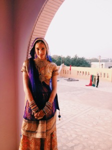 Tamsin in traditional Indian bridal dress.