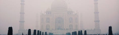The Taj Mahal emerges from the mist.