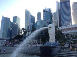 Singapore's Merlion And The CBD