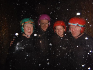 Sue, Chris, Lisa & Paul Under A Waterfall, Inside A Cave