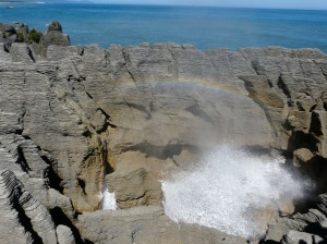 Blow Hole Rainbow At Pancake Rocks