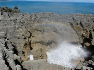 Blow Hole Rainbow At Pancake Rocks