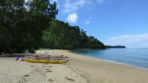Kayaks On The Beach At Apple Tree Bay