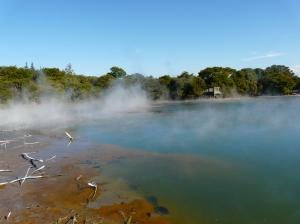 Steaming Crater Lake in Rotorua