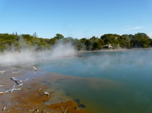 Steaming Crater Lake in Rotorua