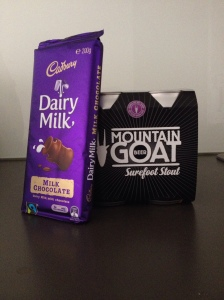 Dairy Milk Chocolate alongside Mountain Goat Surefoot Stout