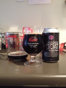 A Measuring Jug, Tulip Glass and Can of Mountain Goat Surefoot Stout