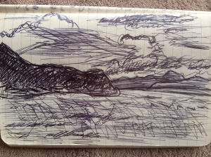 A pen sketch of the Tasman Bay