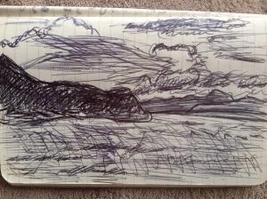 A pen sketch of the Tasman Bay