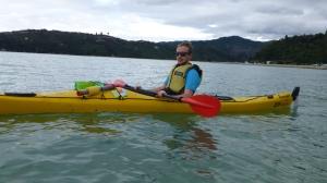 Chris in a sea kayak.