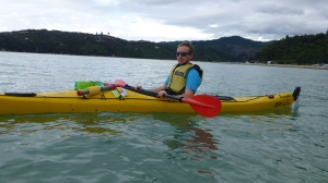 Chris in a sea kayak.