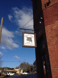 The hanging bull's head sign at Holgate brewhouse
