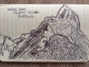 A pen drawing of Milford Sound's Mitre Peak