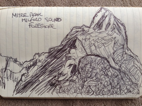 A pen drawing of Milford Sound's Mitre Peak.